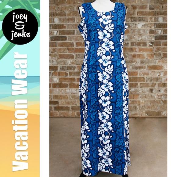 fa849266e18e Ky's Dresses & Skirts - Authentic Blue & White Maxi Hawaiian Dress Large